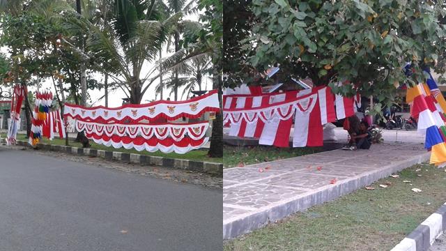 Pedagang Bendera Hiasi Jalan Raya