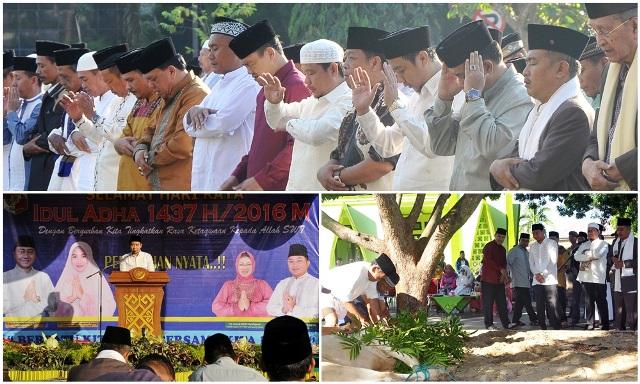 Bersama Rakyat Bupati Lampura Sholat Idul Adha di Halaman Pemda