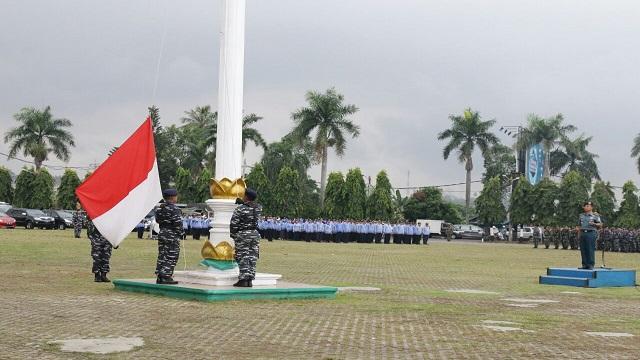 Danlanal Pimpin Upacara Gabungan Bendera di Pemprov Lampung
