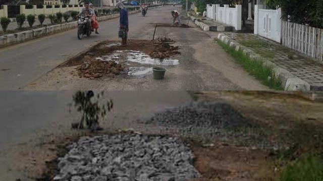 Perbaikan Jalan Kota Sukadana Diduga Asal Jadi