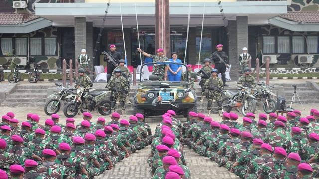 Brigif-3Mar Sambut Kunjungan Dankormar Mayor Jenderal TNI Bambang Suswantono